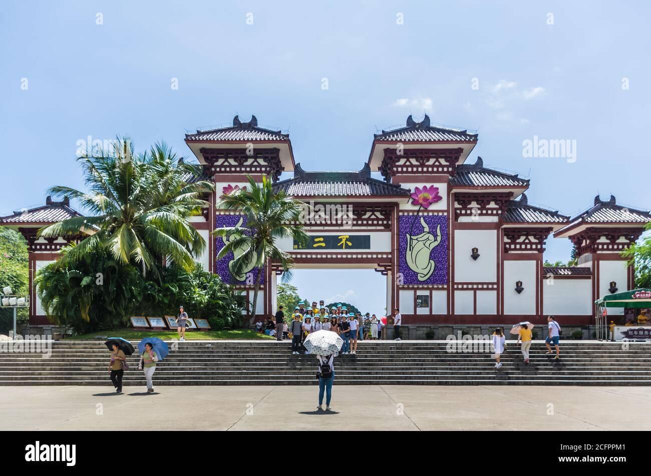 SANYA, HAINAN, CHINA - OCTOBER 10: Main entrance gate in Buddhist center Nanshan at October 10, 2019 in Sanya, Hainan, China Stock Photo
