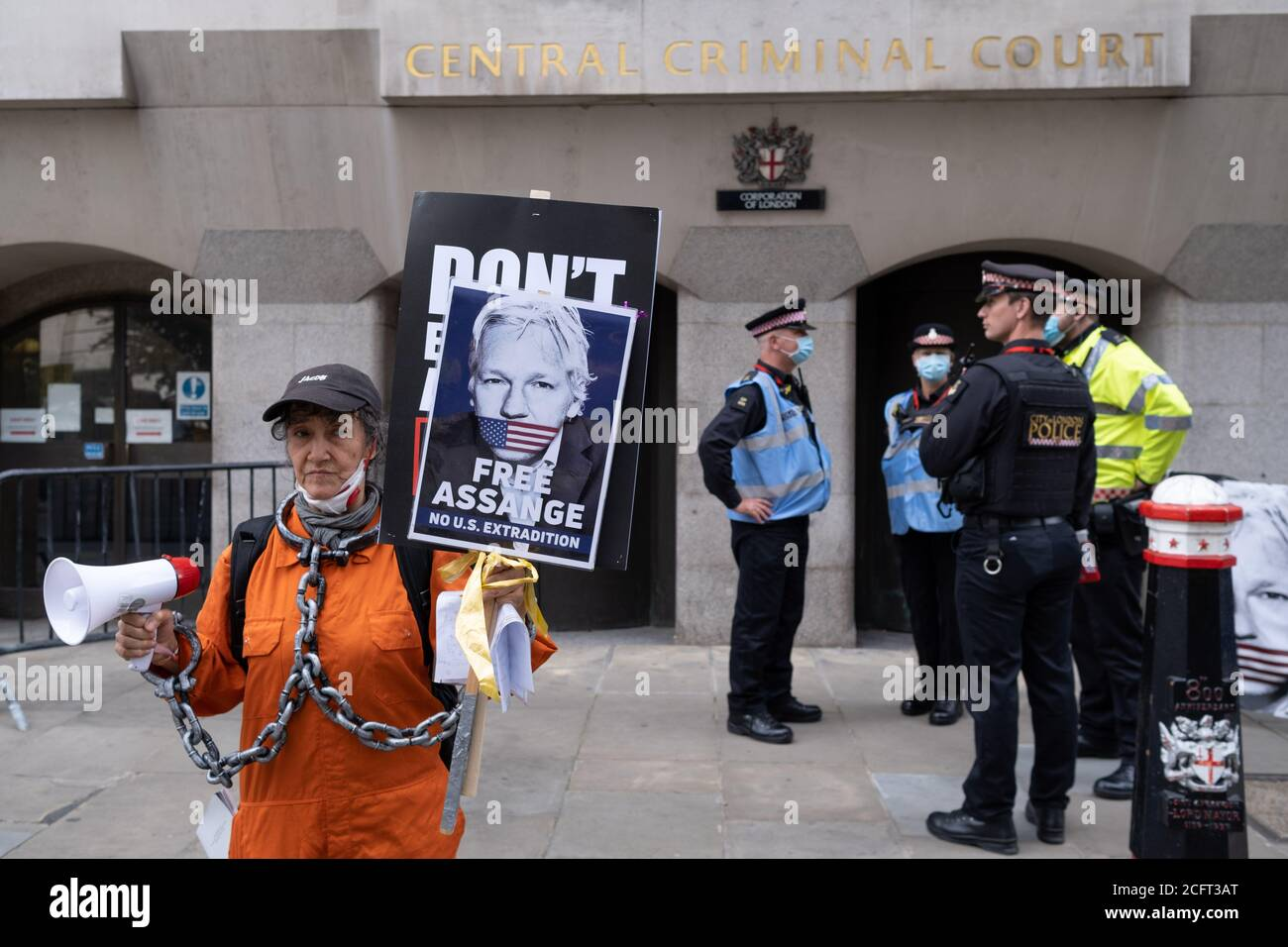 Supporters of Wikileaks founder Julian Assange protest outside London's Old Bailey court as his fight against extradition to the US has resumed, on 7th September 2020, in London, England. Assange has been in Belmarsh Prison for 16 months and is wanted over the publication of classified documents in 2010 and 2011. If convicted in the US, he faces a possible penalty of 175 years in jail. Stock Photo