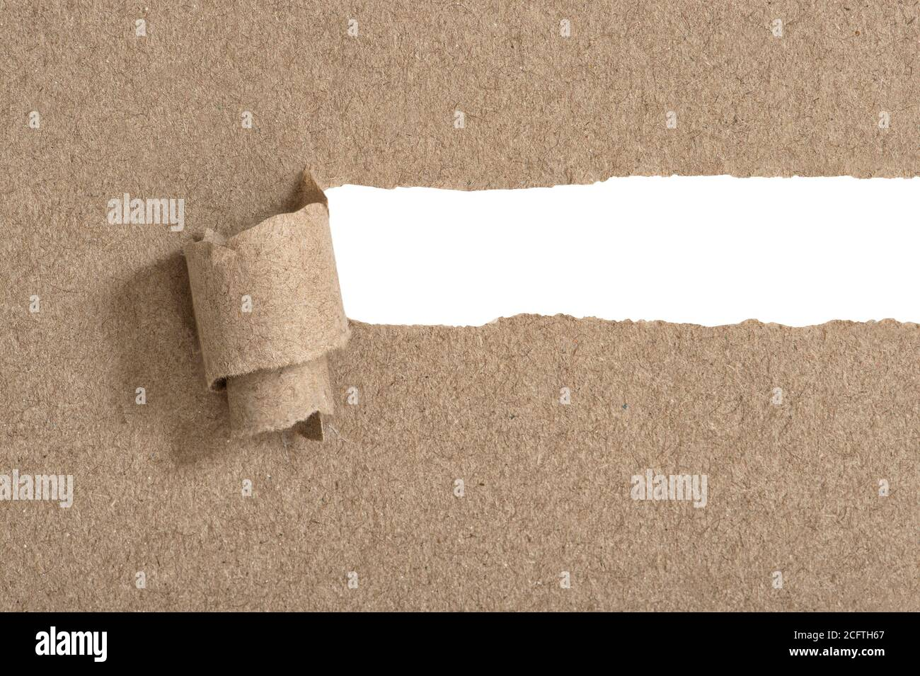 Torn ripped craft paper with white copy space Stock Photo