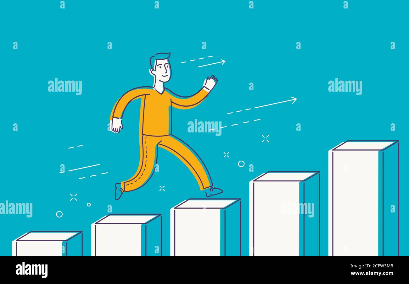 Running businessman on successful diagram. Business, finance concept Stock Vector