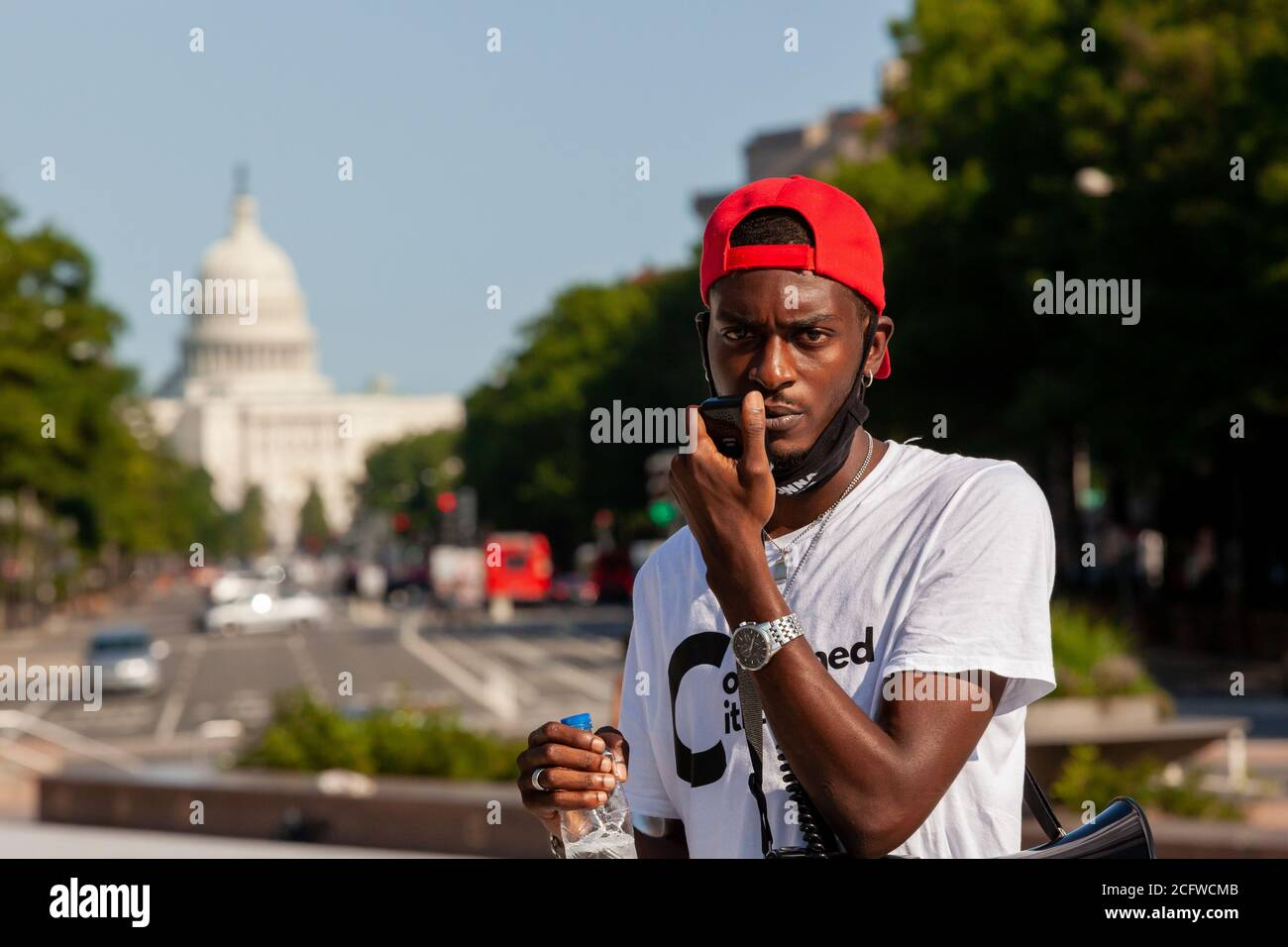 Washington, DC, USA, September 7, 2020. Pictured: Ty Hobson-Powell, founder and director of policy of Concerned Citizens of DC, concluded Let Freedom Sing with an appeal to all to vote. Let Freedom Sing was a community-building protest and voter registration event by the Freedom Day Foundation and Head Count. Credit: Allison C Bailey/Alamy Credit: Allison Bailey/Alamy Live News Stock Photo