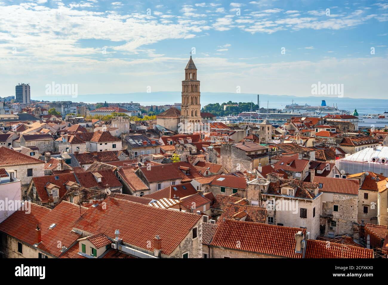 Bell tower and historic buildings in old town of Split Stock Photo