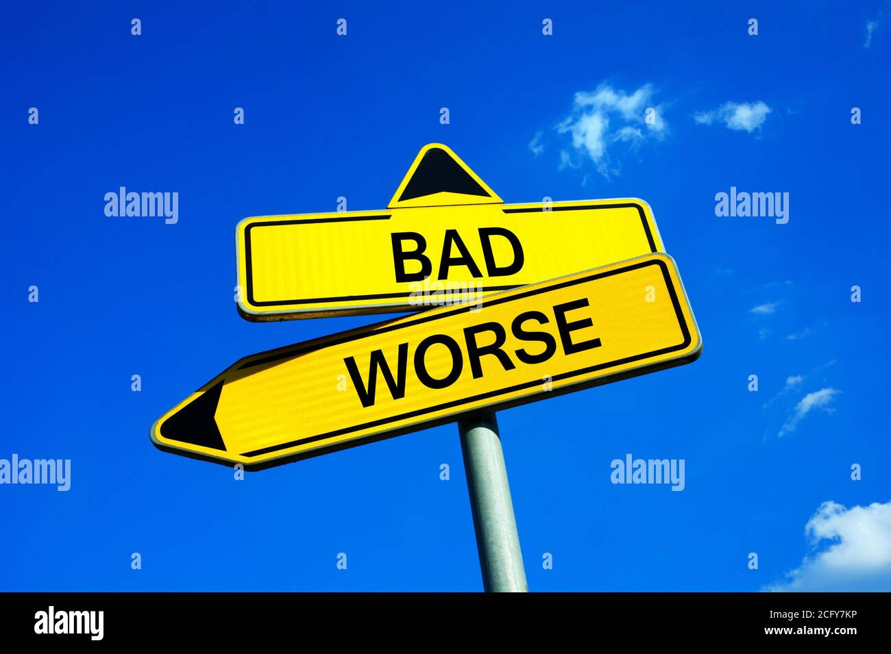 Bad or Worse - Traffic sign with two options - two negative and pessimist alternatives because of problems, troubles, failures and misfortune Stock Photo