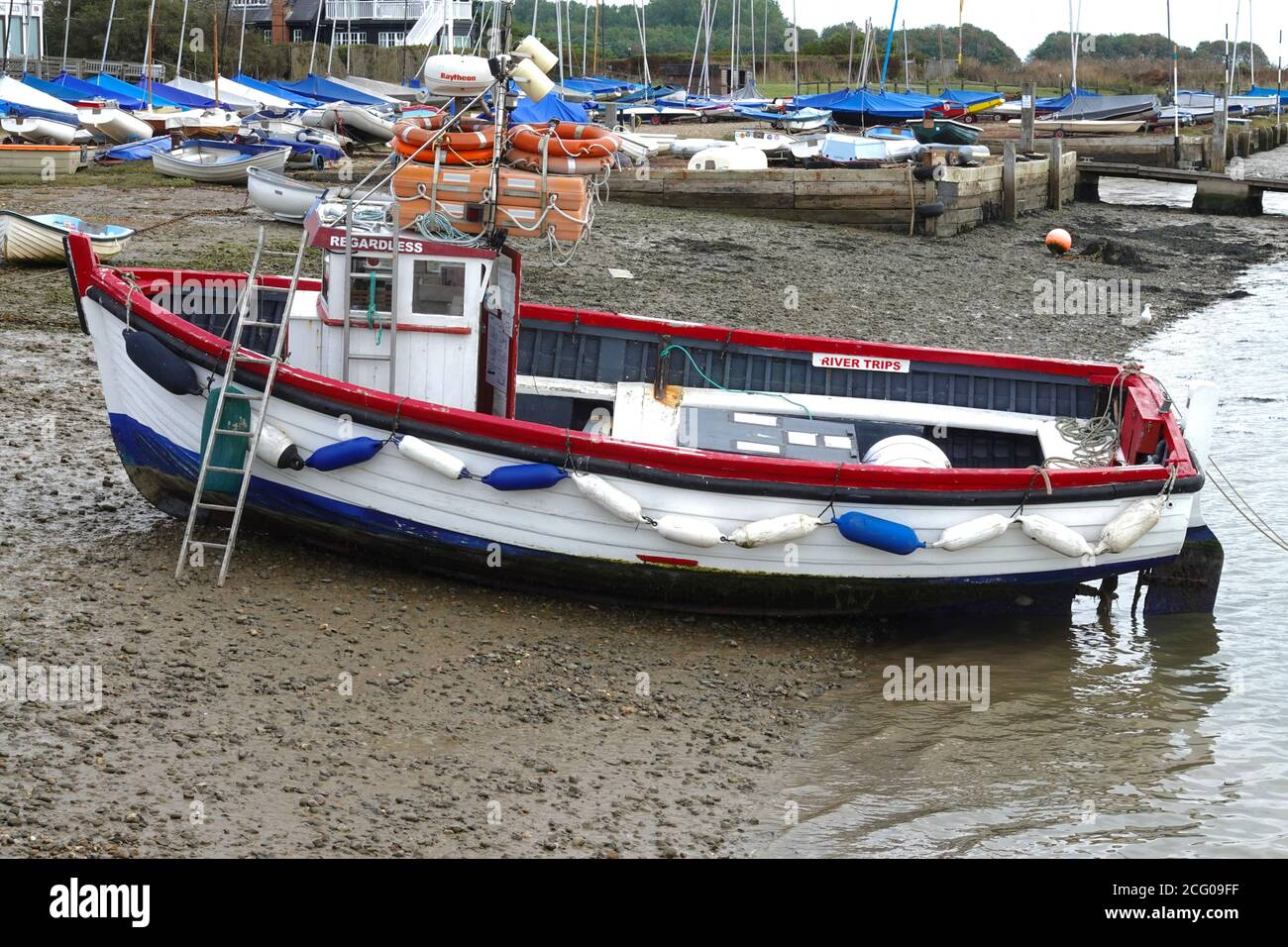 Orford, Suffolk, UK - 8 September 2020: The Regardless fishing boat on the beach at Orford Quay. Stock Photo