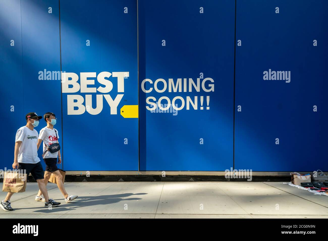 A sign advertises the future home of a  Best Buy electronics store in Midtown Manhattan in New York on Sunday, September 6, 2020. Not a new store, the branch of the chain is only moving across the street from its current location. (© Richard B. Levine) Stock Photo