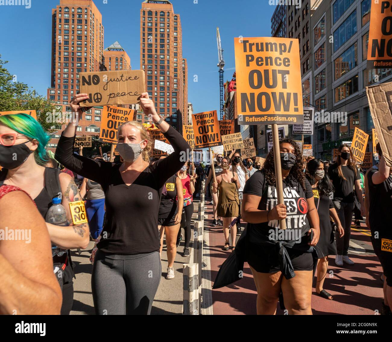 Black Lives Matter demonstrators rally in Union Square in New York on Saturday, September 5, 2020 protesting President Donald Trump in advance of the upcoming election. (© Richard B. Levine) Stock Photo