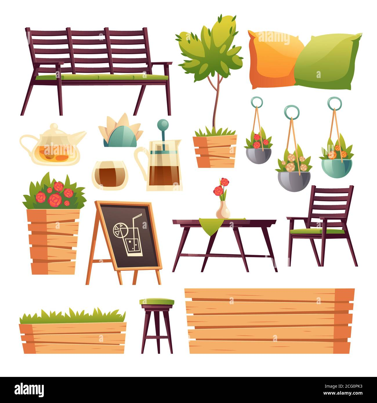 Cafe Or Restaurant Terrace With Wooden Bar Counter Seats Flowers And Plants Vector Cartoon Set Of