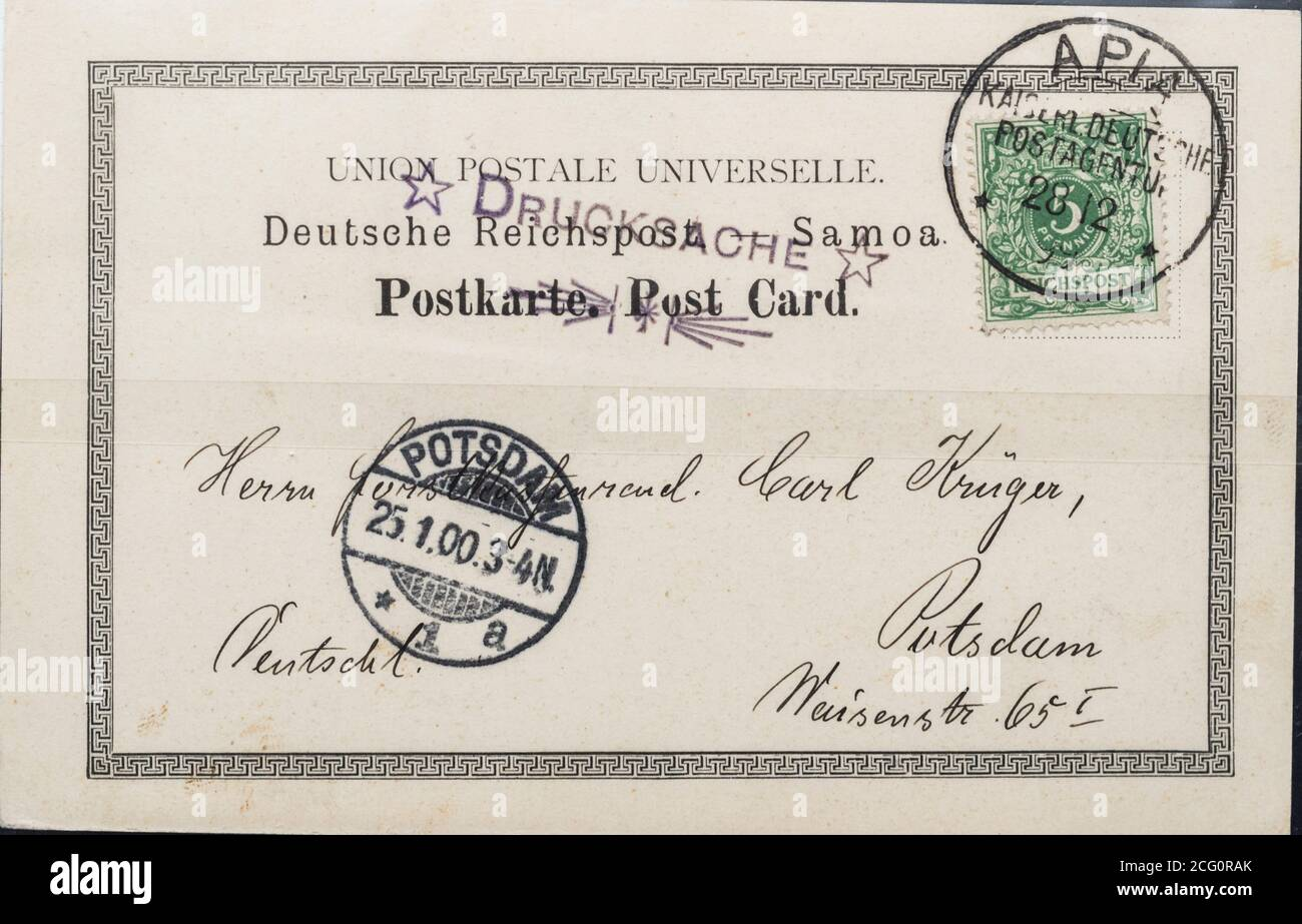 Postcard from the German Postal Agency in Samoa dating to 1899 Stock Photo