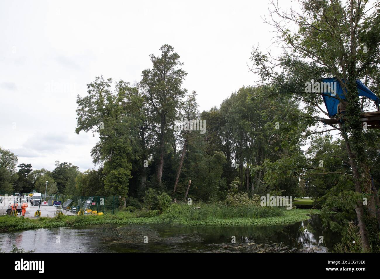 Denham, UK. 7th September, 2020. A view towards a site where a large tree suddenly fell to the ground adjacent to a construction site for the HS2 high-speed rail link at Denham Ford. Credit: Mark Kerrison/Alamy Live News Stock Photo