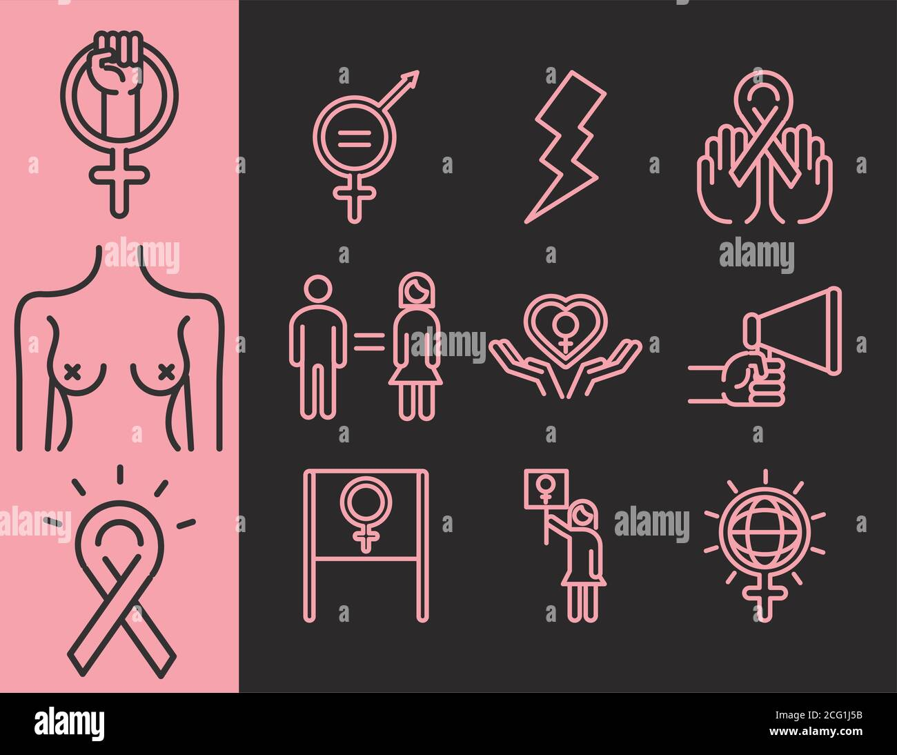 feminism movement icon, female rights freedom pictogram line icons set vector illustration Stock Vector