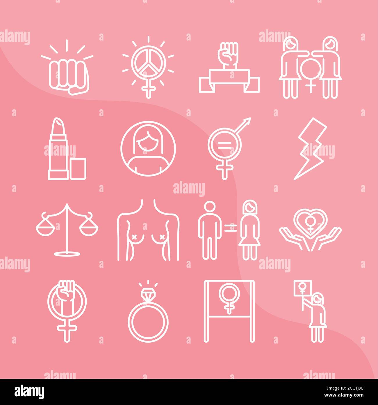 feminism movement icon, female rights pictogram linear icons set vector illustration Stock Vector