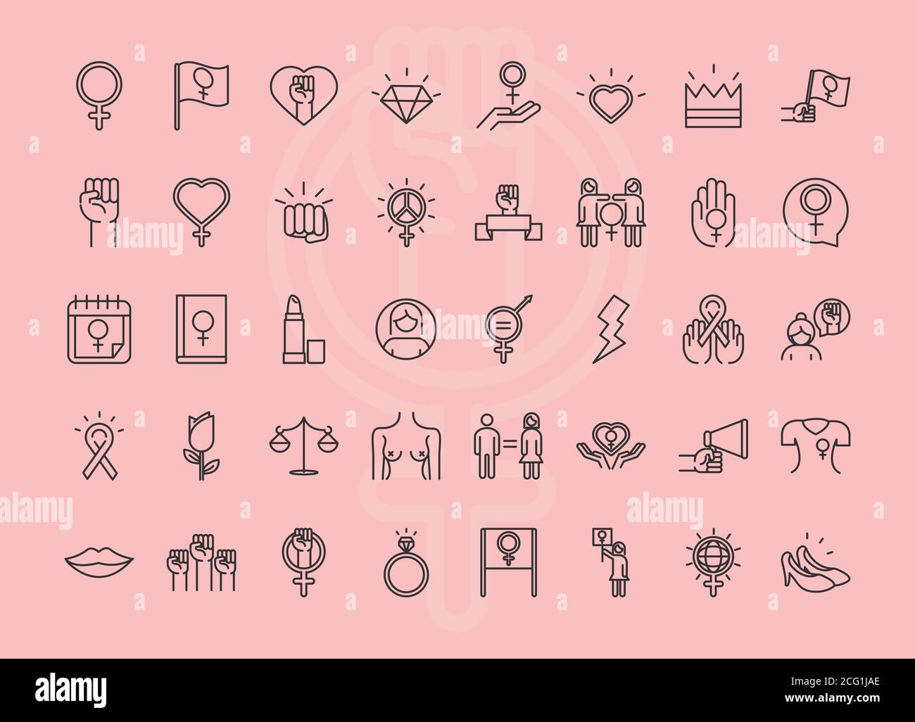 feminism movement icon, pink background female rights pictogram line icons set vector illustration Stock Vector