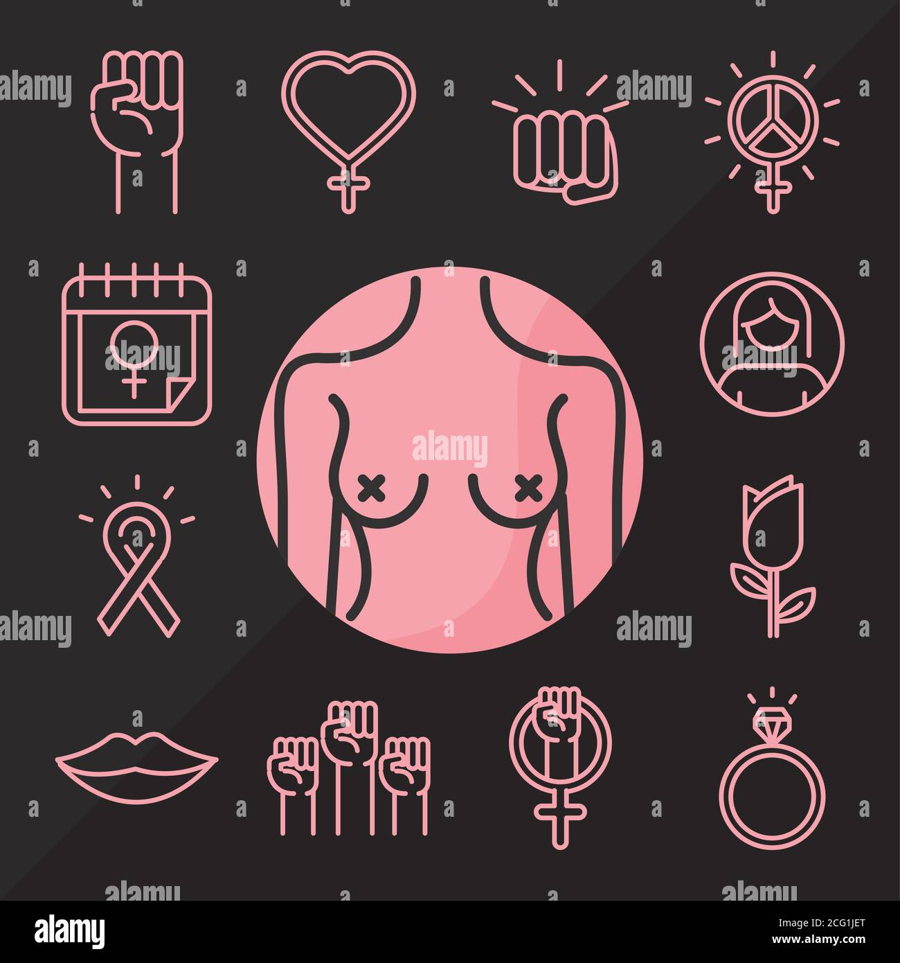 feminism movement icon, power female rights pictogram line icons set vector illustration Stock Vector