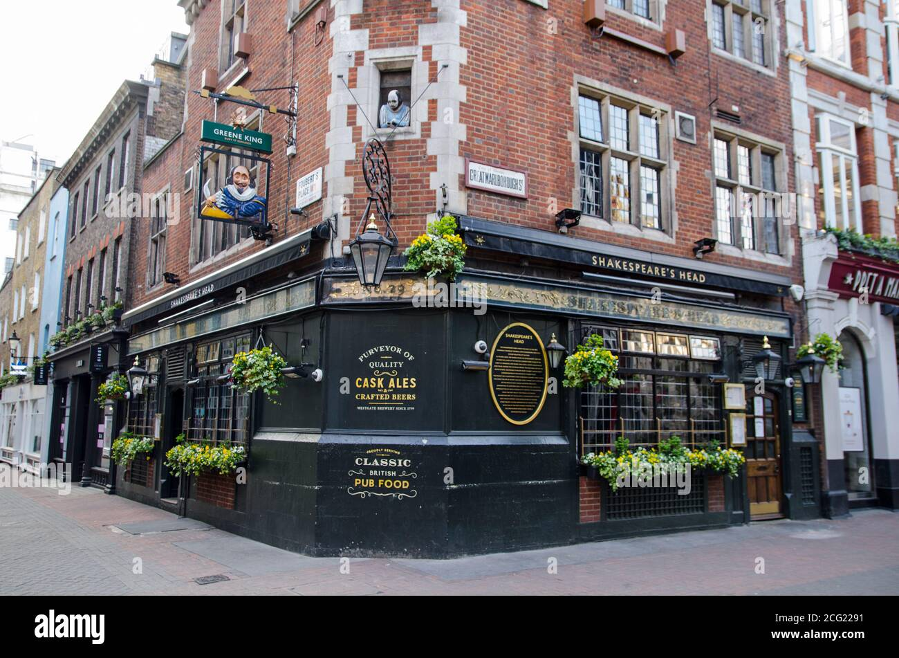 London, UK - April 24, 2020: Historic Shakespeare's Head pub in Soho, central London on an evening during COVID lockdown. Stock Photo