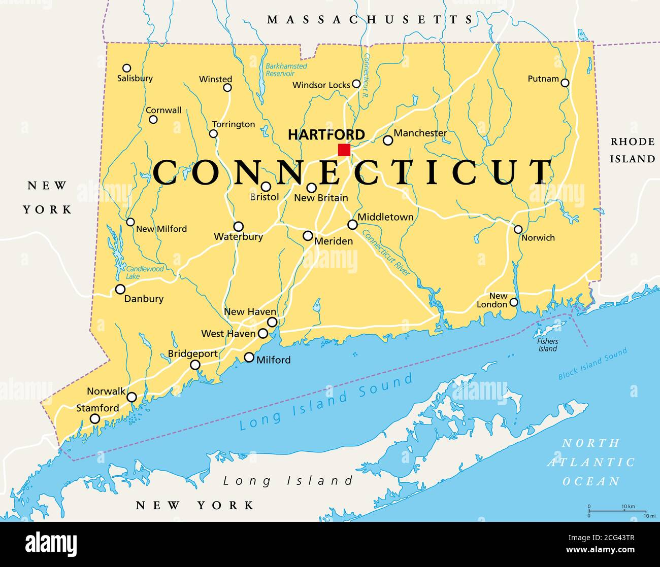 Image of: Connecticut Political Map With Capital Hartford State Of Connecticut Ct The Southernmost State In The New England Region Of The United States Stock Photo Alamy