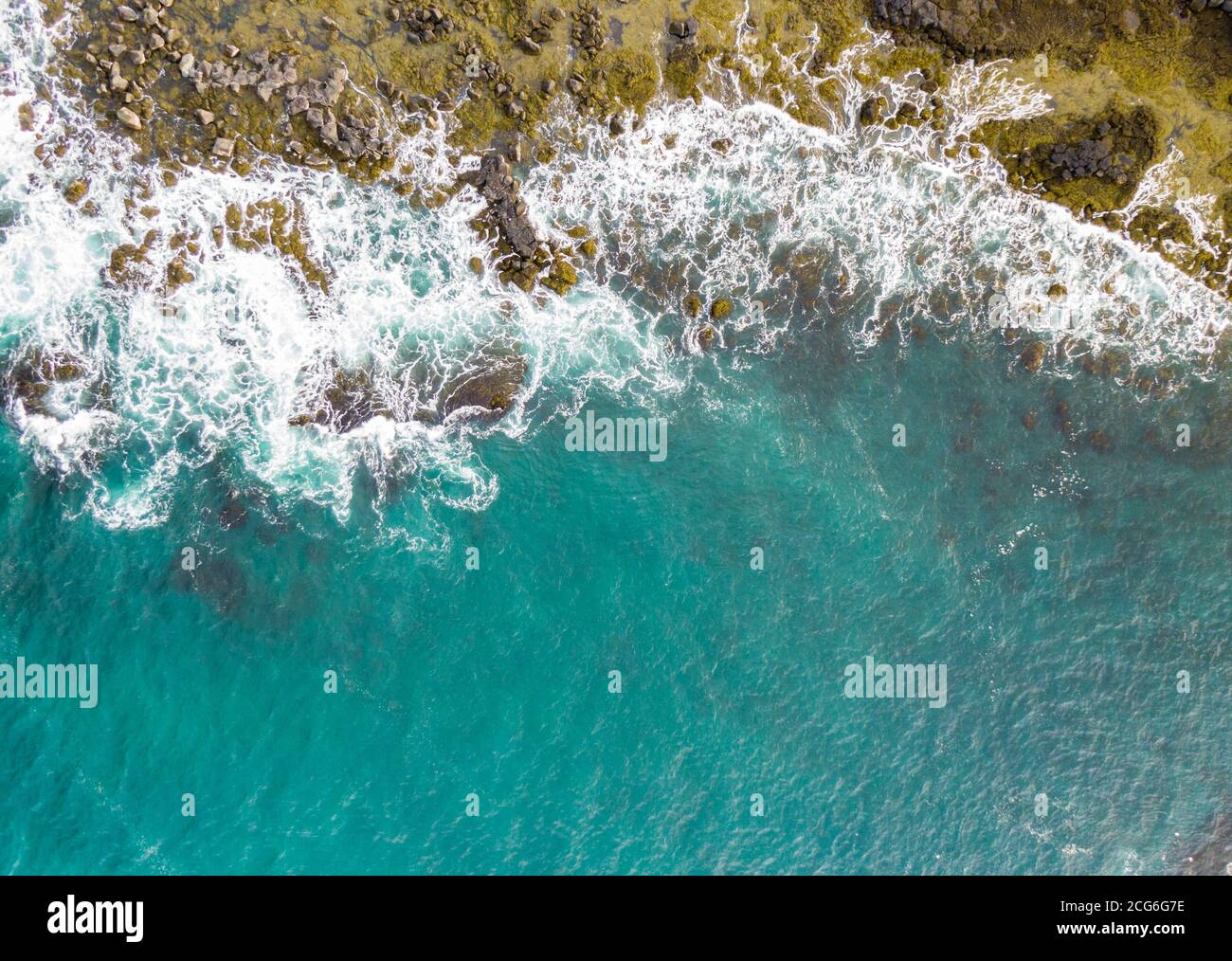 Icelandic coast, from the top, tempting color, but freezing temperature Stock Photo