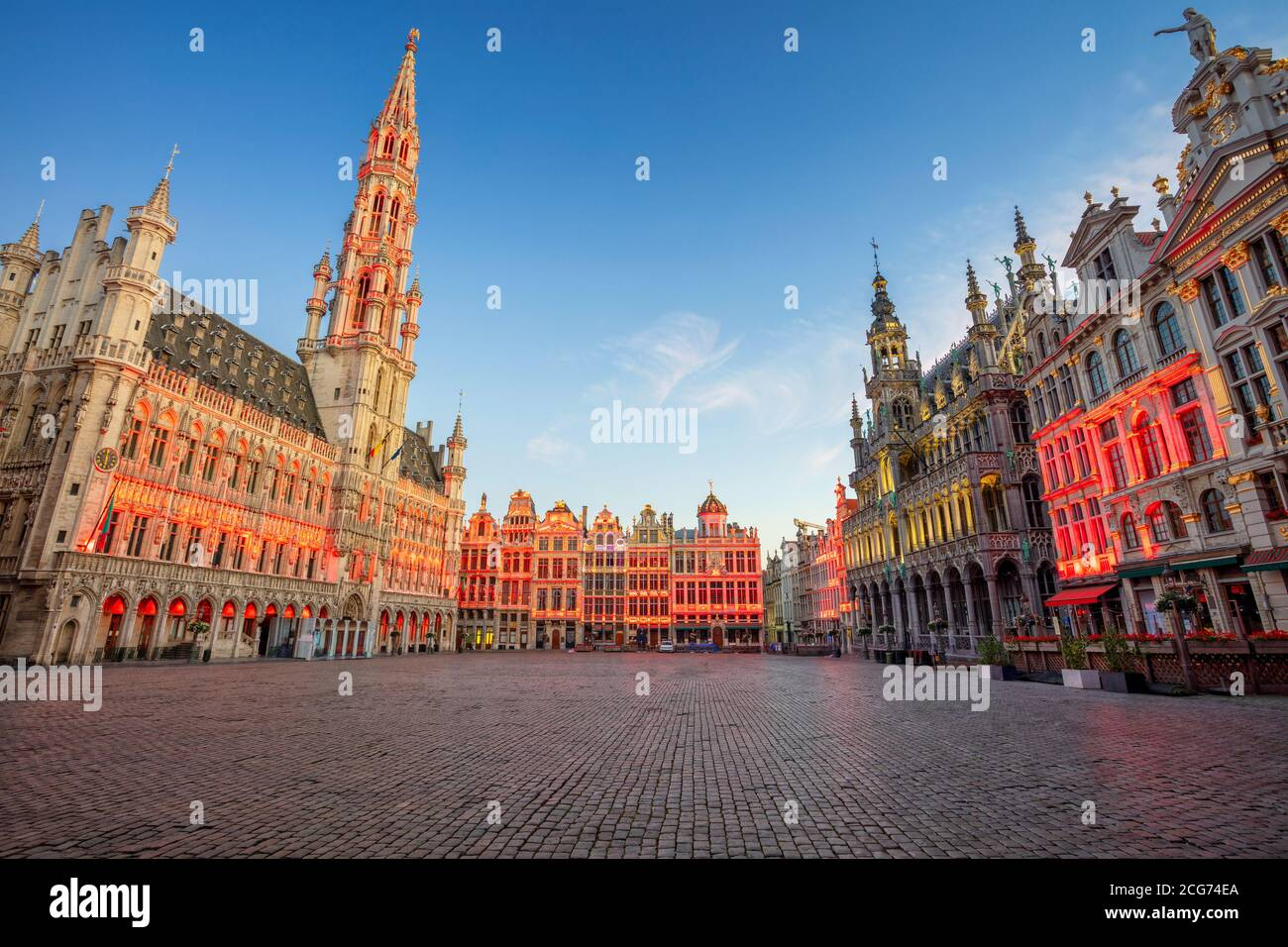 Brussels, Belgium. Cityscape image of Brussels with Grand Place at sunrise. Stock Photo