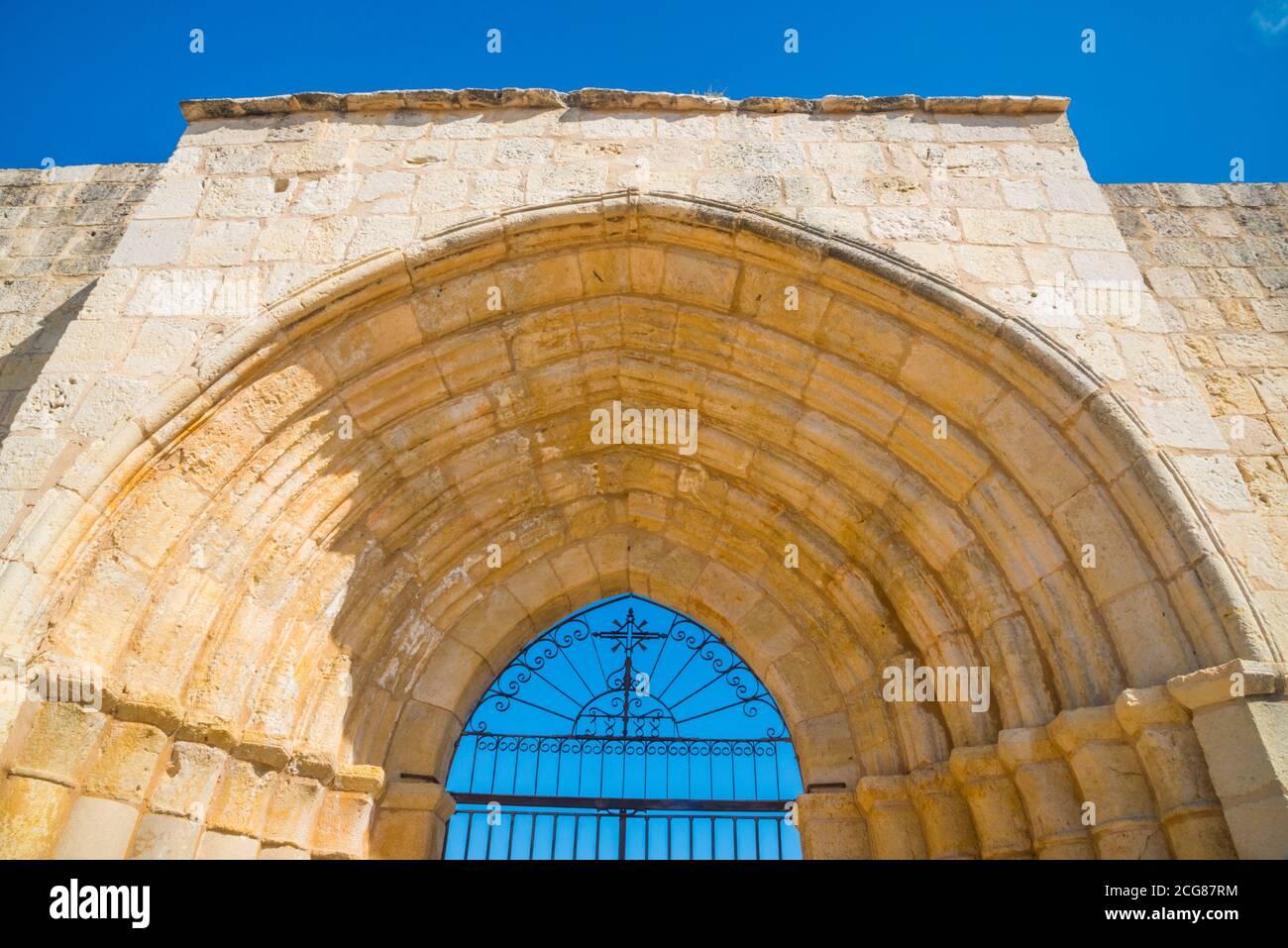 Facade of Santa Maria de la Varga church. Uceda, Guadalajara province, Castilla La Mancha, Spain. Stock Photo