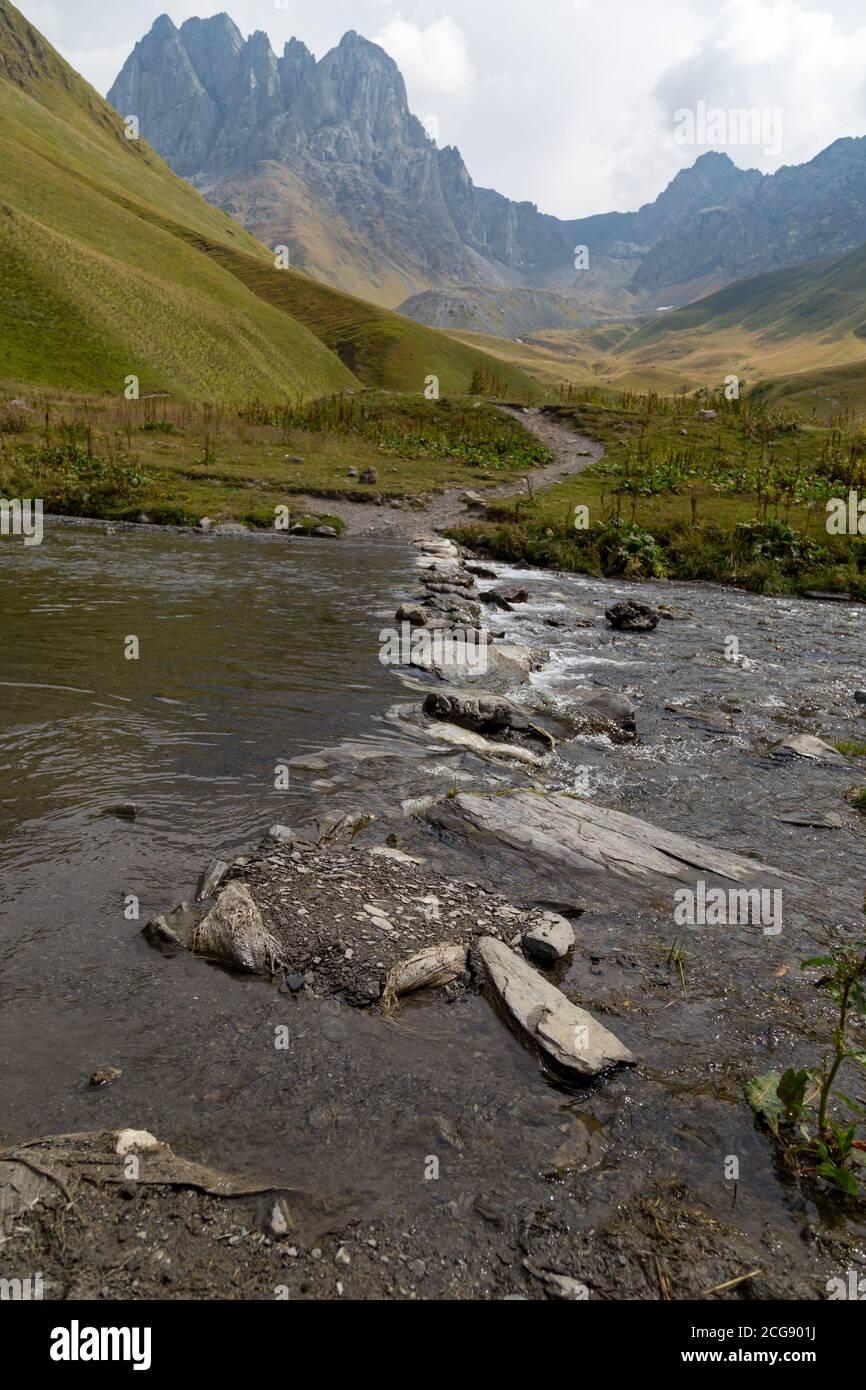 Trekking Caucasus - Chaukhi pass, from Juta to Roshka in the North of Georgia Stock Photo