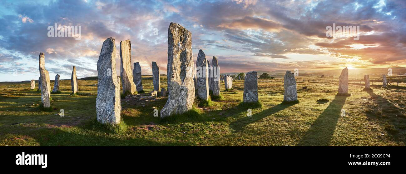 Panorama of Calanais Standing Stones  central stone circle erected between 2900-2600BC measuring 11 metres wide. At the centre of the ring stands a hu Stock Photo