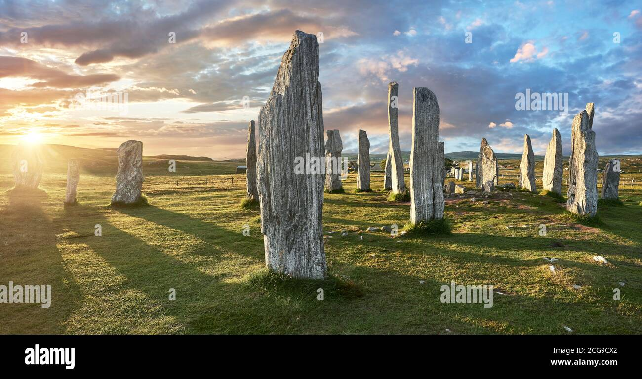 Panorama of  the central stone circle, at sunset, erected between 2900-2600BC measuring 11 metres wide. At the centre of the ring stands a huge monoli Stock Photo