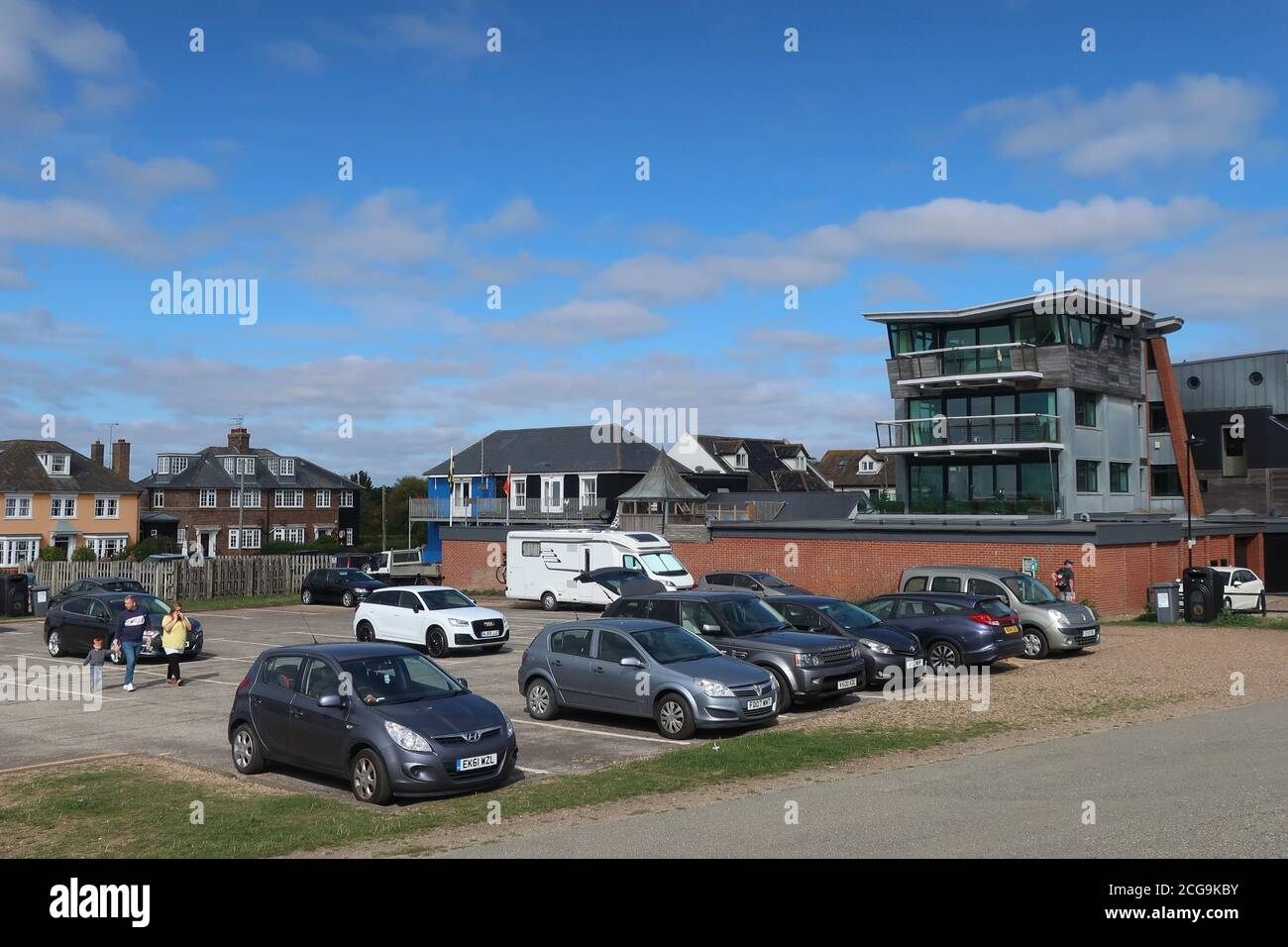 Aldeburgh, Suffolk, UK - 9 September 2020: Bright autumn day on the East Anglia coast. Fort Green car park on the seafront. Stock Photo