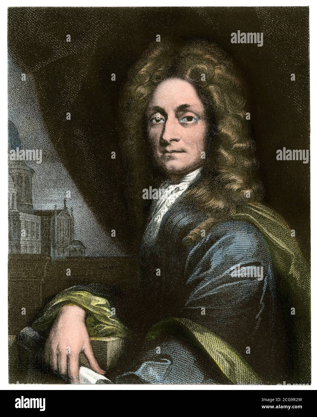 Architect Christopher Wren. Hand-colored steel engraving Stock Photo