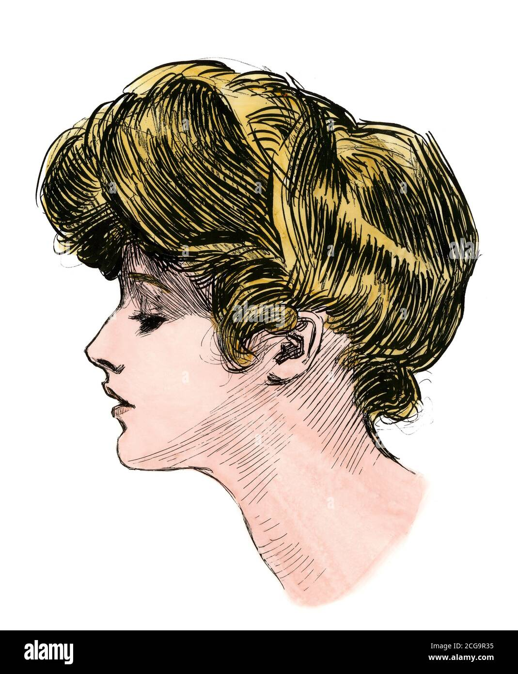 """Profile of a """"Gibson girl,"""" c. 1900. Hand-colored woodcut of a Charles Dana Gibson ilustration Stock Photo"""