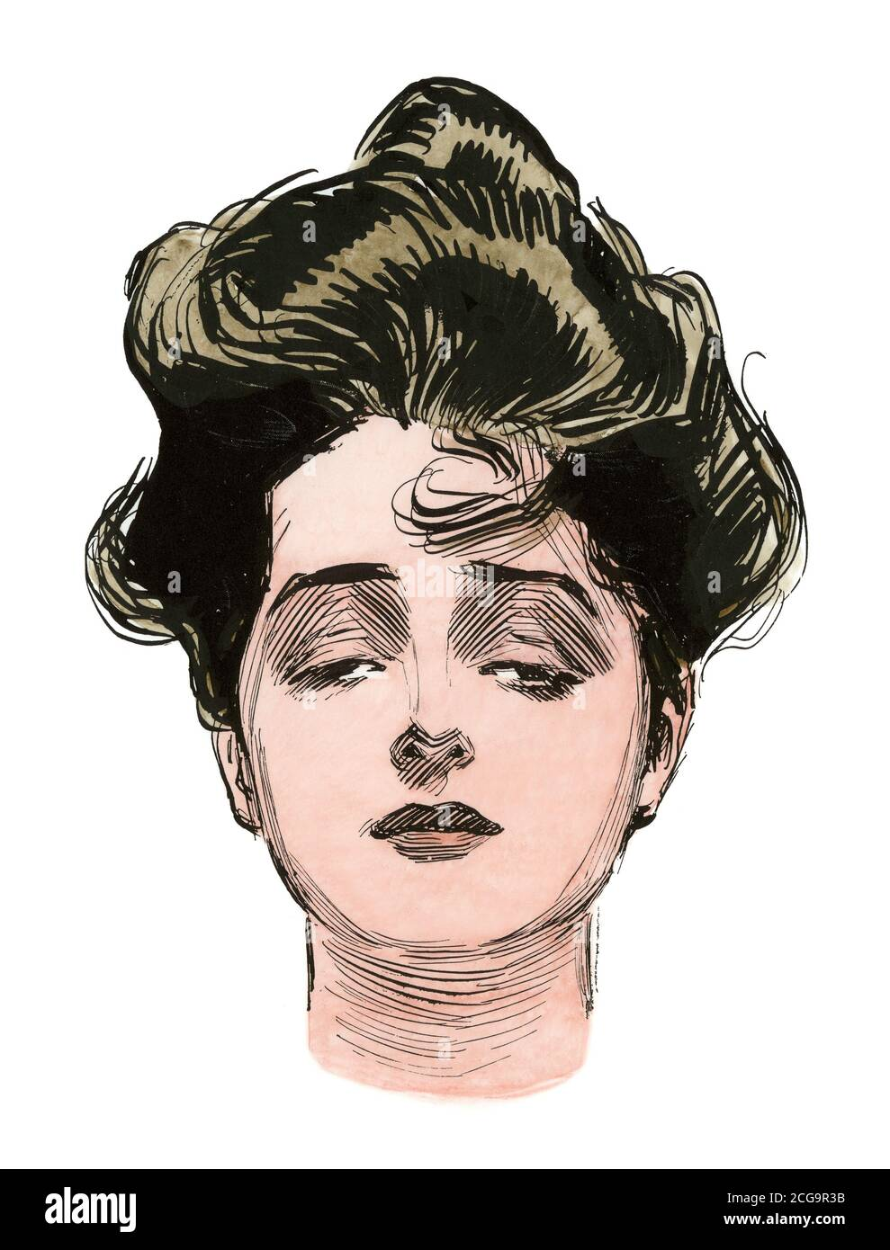 "A ""Gibson girl,"" c. 1900. Hand-colored woodcut of a Charles Dana Gibson ilustration Stock Photo"