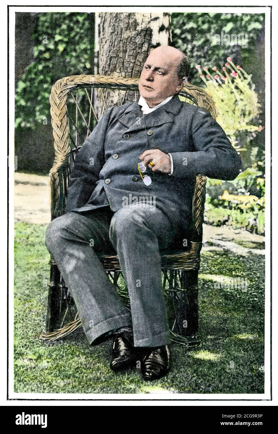 Henry James in the garden of his home, Rye UK, 1903. Hand-colored halftone of a photograph Stock Photo