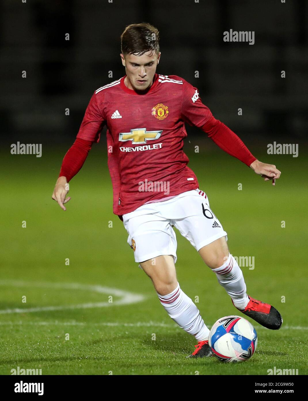 Manchester United's Charlie McCann during the EFL Trophy Northern Group B match at the Peninsula Stadium, Salford Stock Photo - Alamy