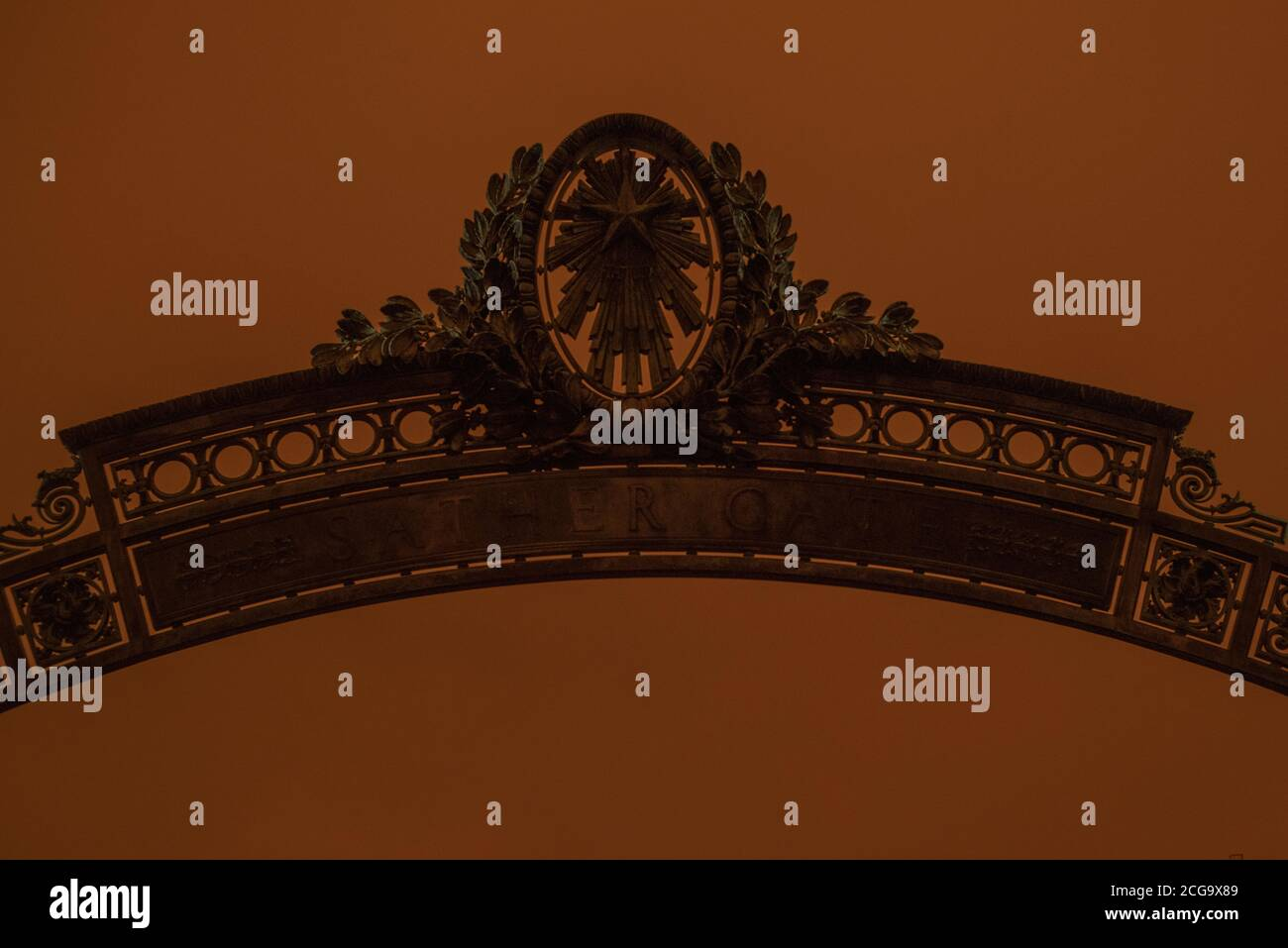 Sather gate on a hazy day where the sky turned orange from California's wild fires. Stock Photo