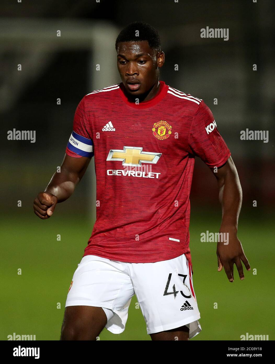 Manchester United's Teden Mengi during the EFL Trophy Northern Group B match at the Peninsula Stadium, Salford Stock Photo - Alamy