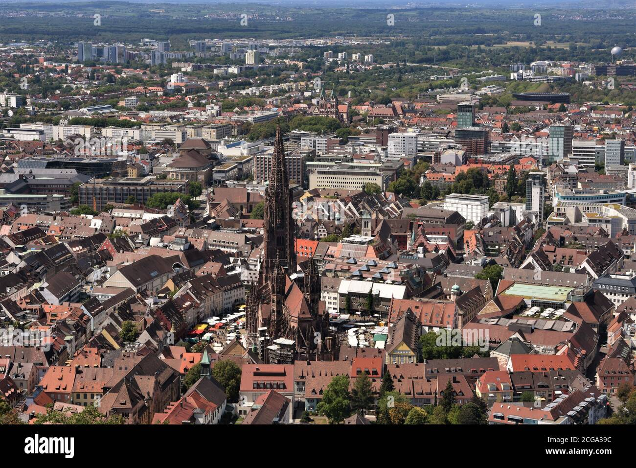 View from lookout Castle Hill Tower on the panorama of the city of Freiburg im Breisgau, Baden-Württemberg, Germany. On the picture is  old center. Stock Photo