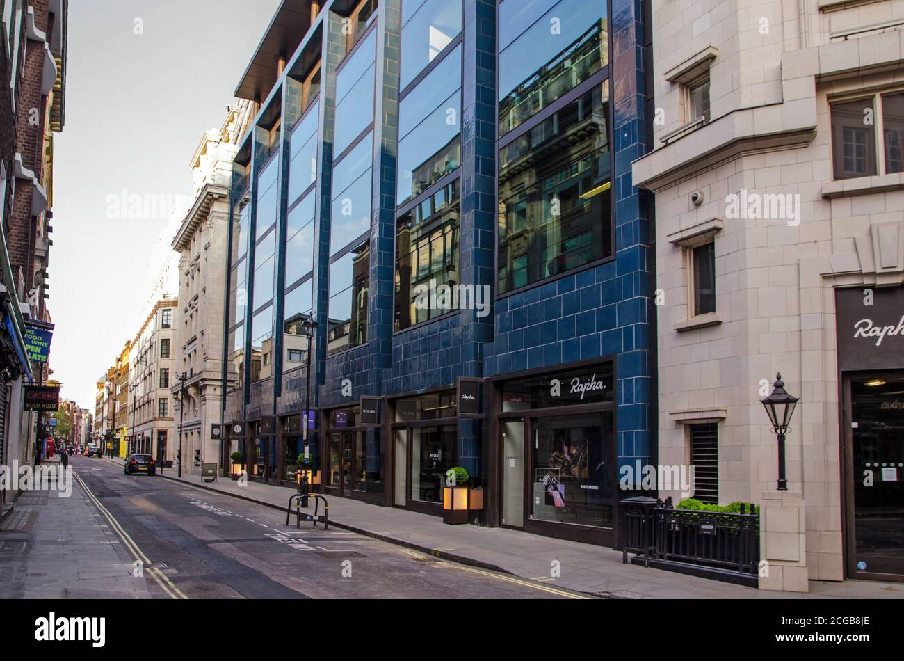 London, UK - April 24, 2020:  view along the normally busy Brewer Street in Soho, Central London during COVID lockdown. Stock Photo