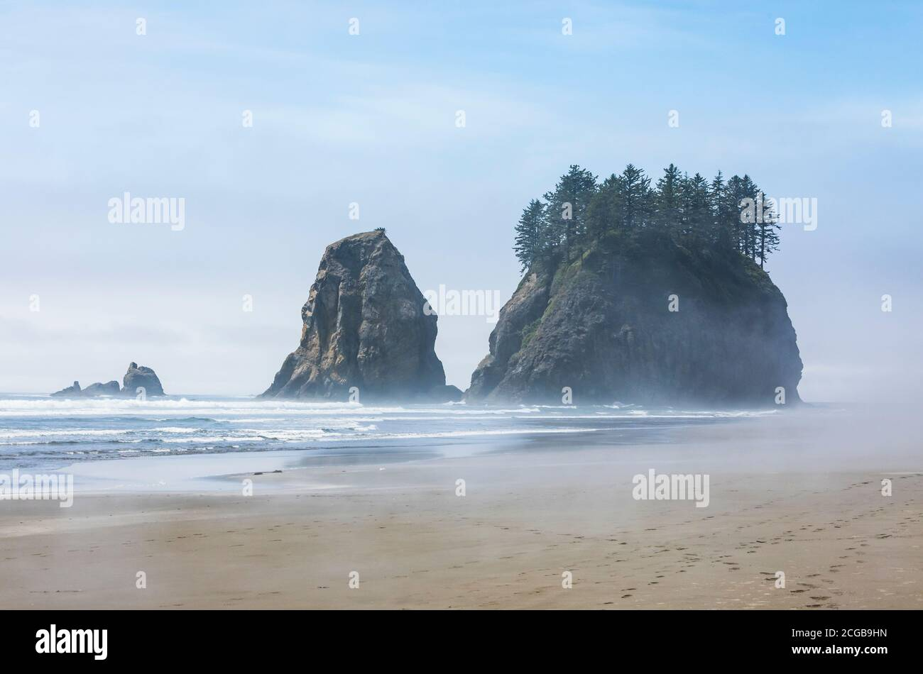 Sea stack rocks offshore at 2nd Beach in the Olympic National Park Coastal Strip, Washington State coast, USA. Stock Photo