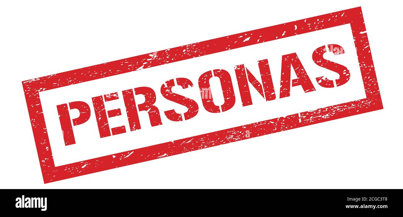 PERSONAS red grungy rectangle stamp sign. Stock Photo