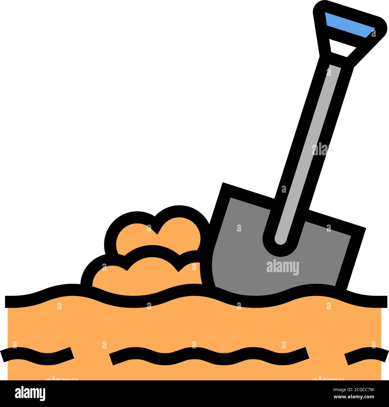 Spade In Ground Line Icon. Digging Activity, Gardening, Grave... Royalty  Free Cliparts, Vectors, And Stock Illustration. Image 107189778.