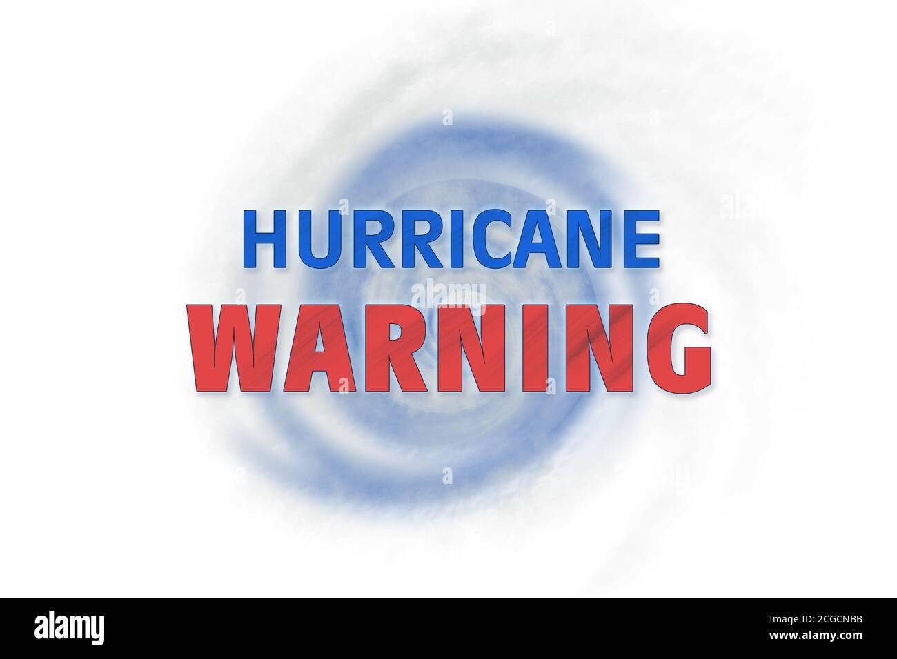Weather illustration. Hurricane warning. Tropical storm. Stock Photo