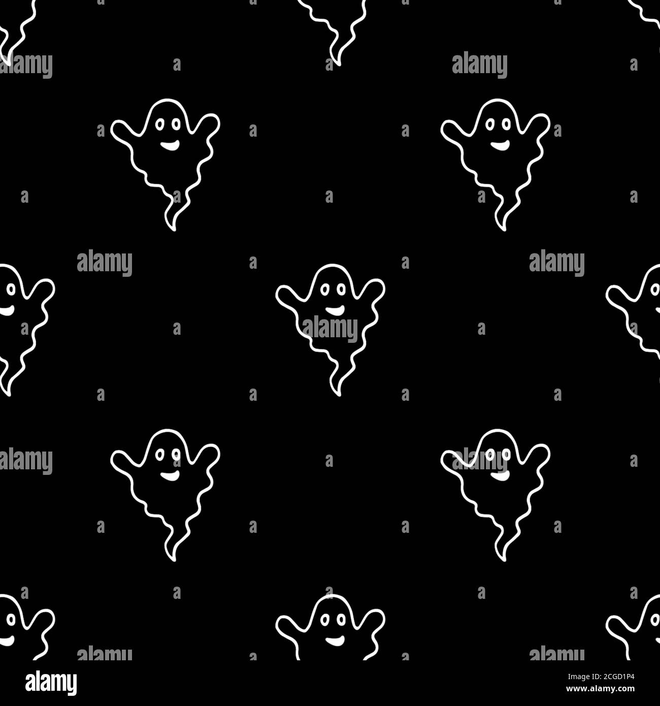 Autumn Seamless Pattern With Ghosts Endless Texture For Wallpaper Background Wrapping Halloween And Thanksgiving Ornament White And Black Colors Stock Photo Alamy