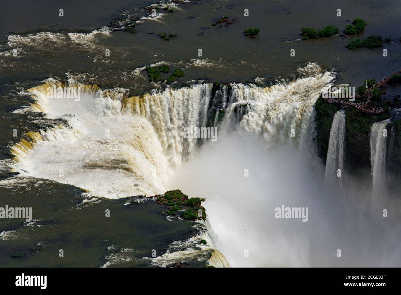 Aerial View of Iguazu Falls, One of the New 7 Wonders of Nature, in Brazil and Argentina Stock Photo