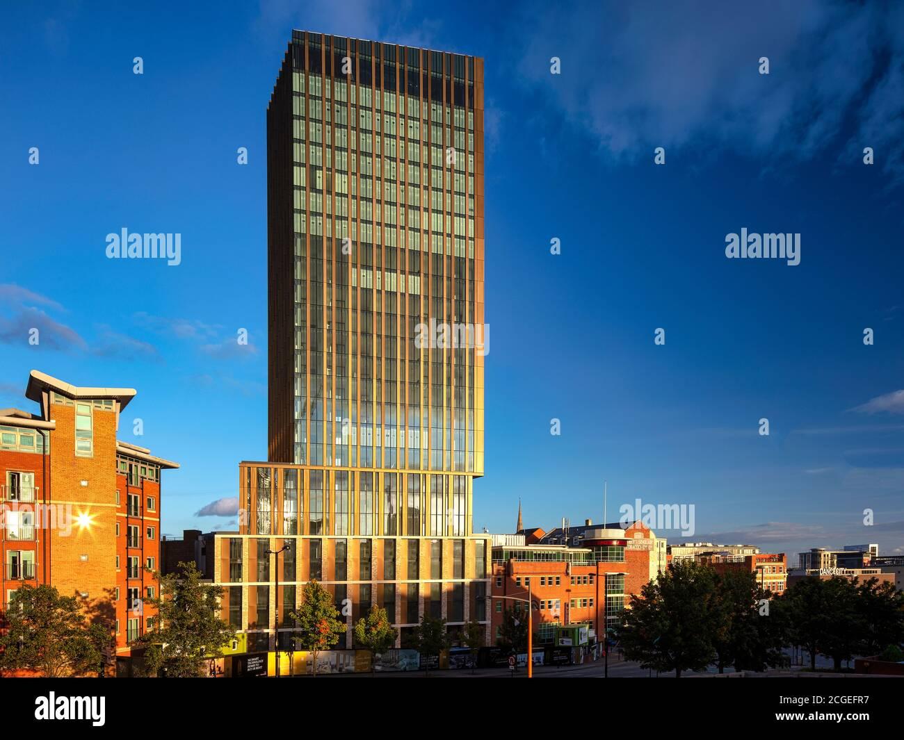 Evening light over Hadrian Tower, Newcastle upon Tyne, Tyne and Wear, England, United Kingdom Stock Photo