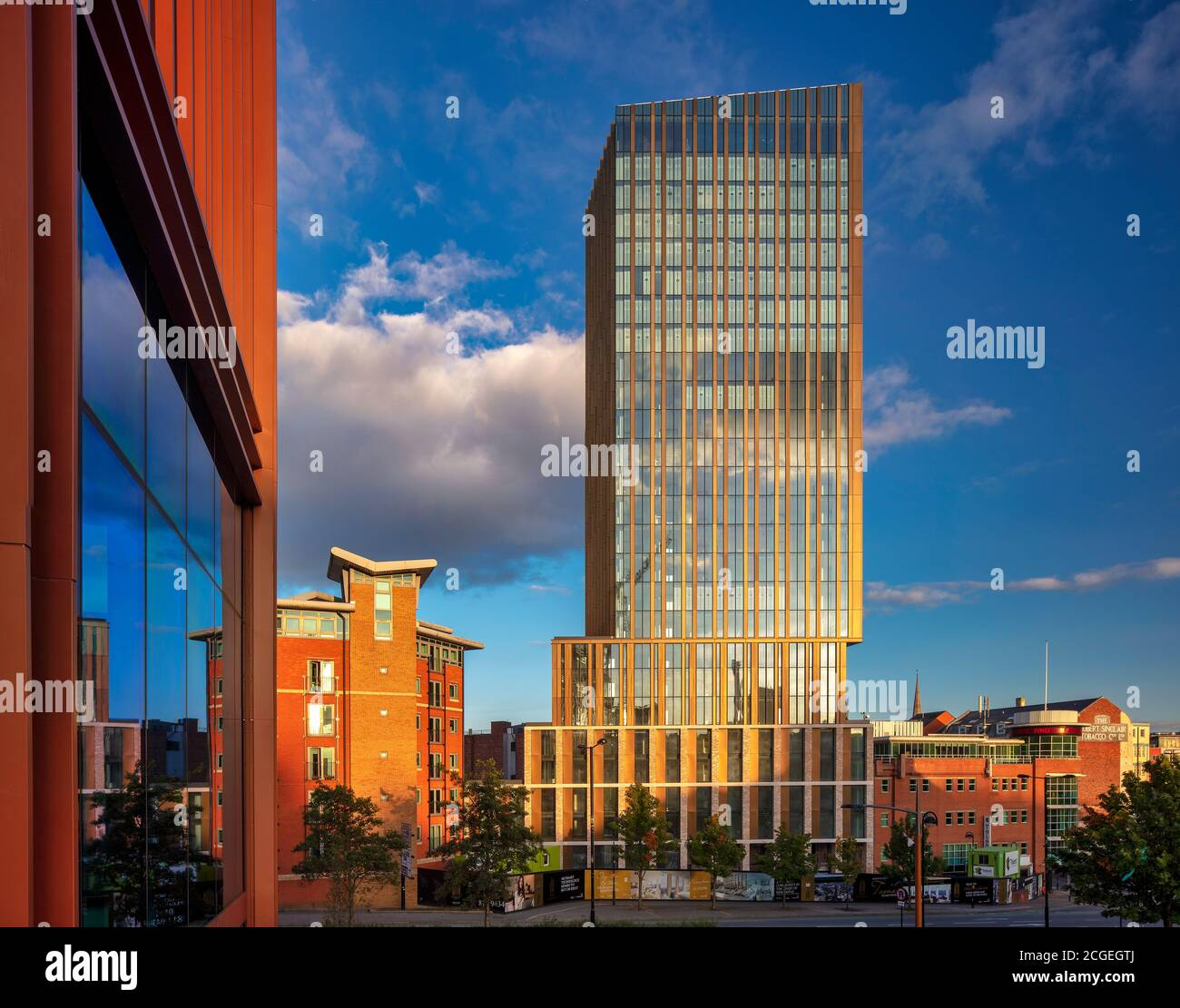 Evening light over Hadrian Tower, Newcastle upon Tyne, Tyne and Wear, England, United Kingdom Stock Photo