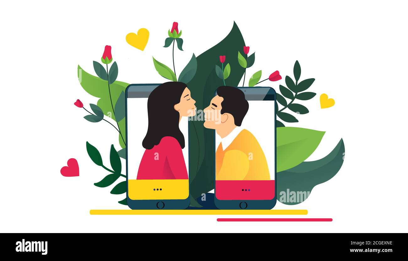 Virtual relationships, online dating or social networking concept.  Stock Vector