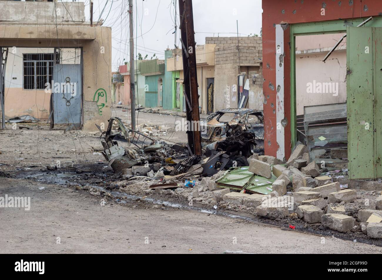 The scene of a destroyed Humvee in Al Bakir district of East Mosul, Iraq. Stock Photo