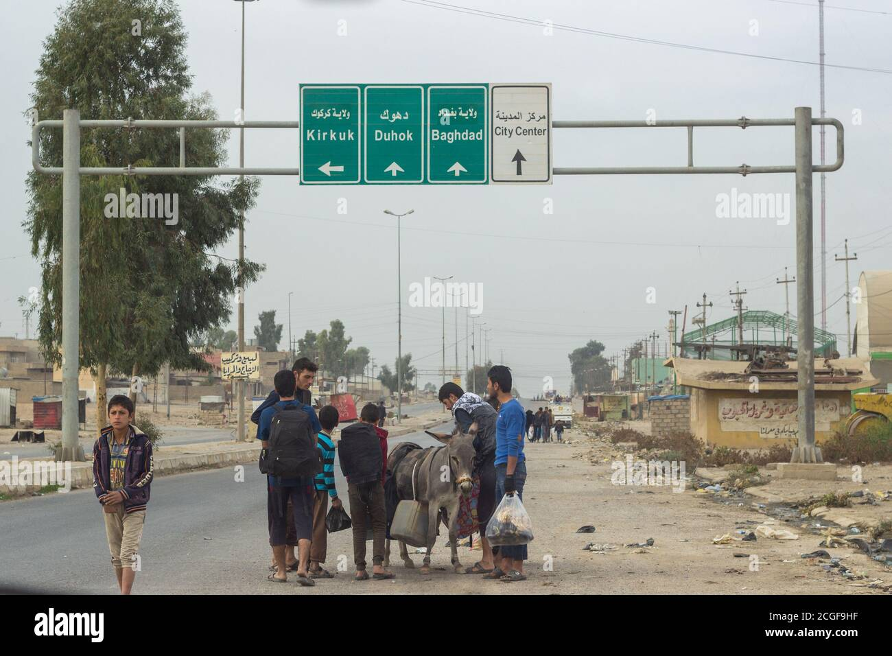 One of the roads going into Mosul from the east near Gogjali, East Mosul, Iraq. Stock Photo