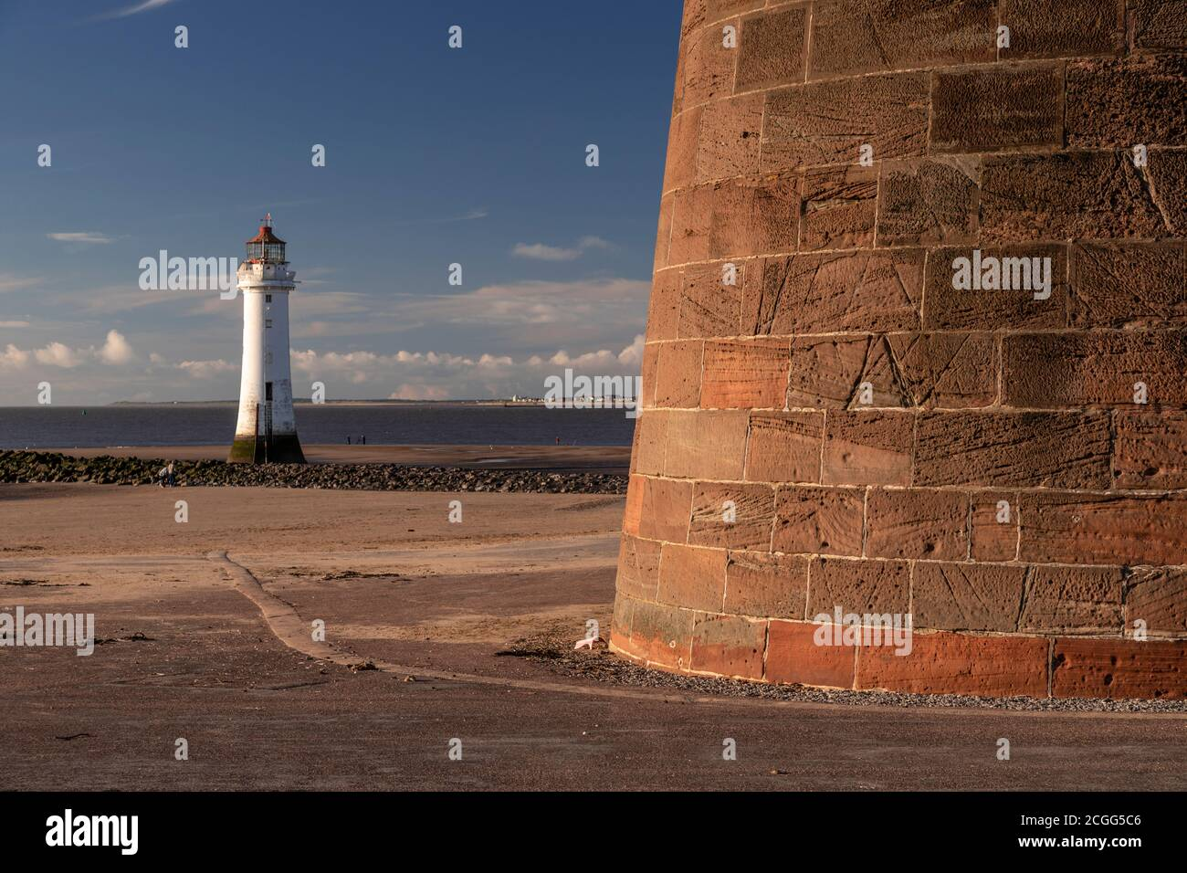 Fort Perch Rock and lighthouse, New Brighton, Wirral, Merseyside, England Stock Photo