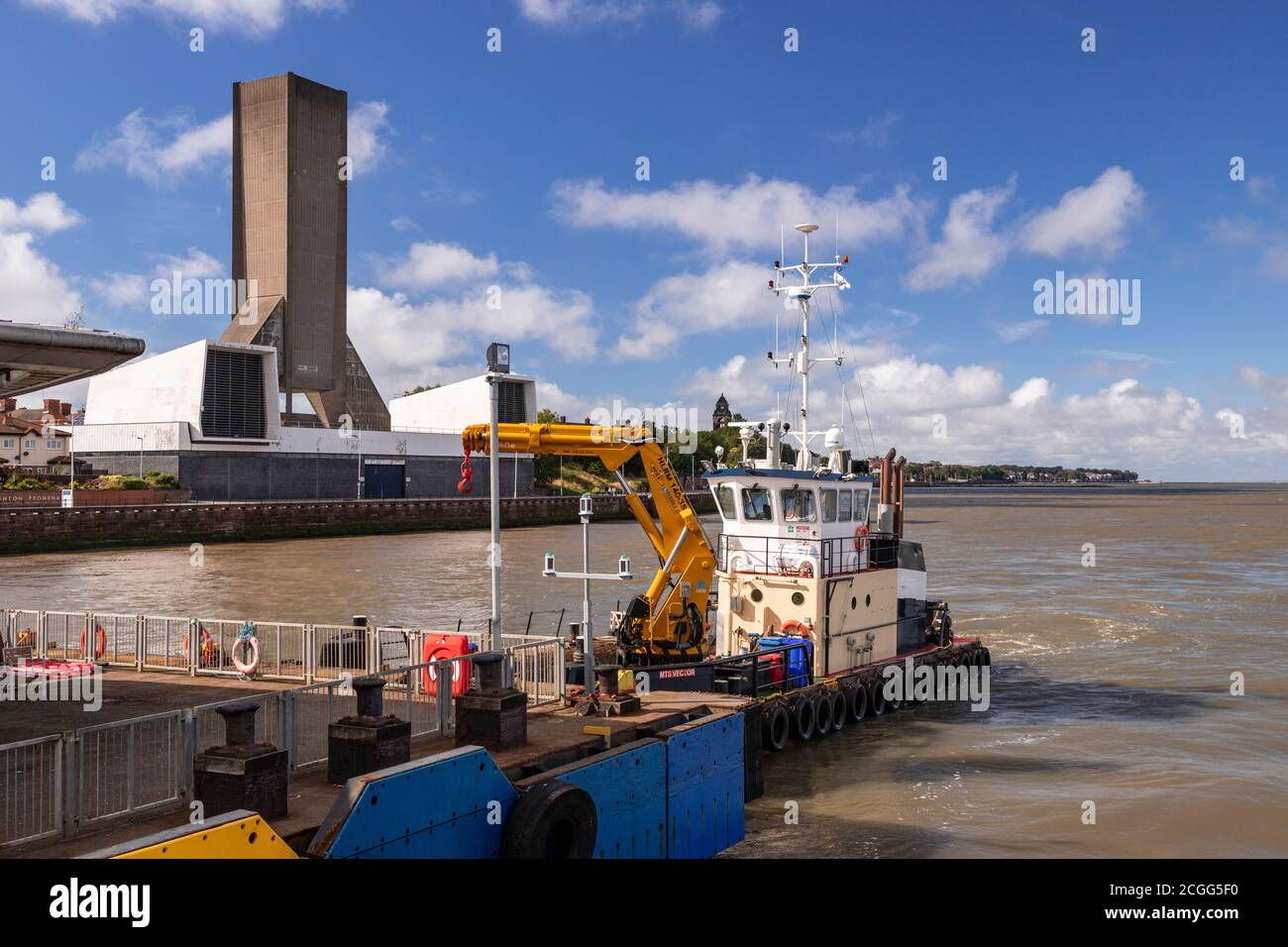 Kingsway Mersey Tunnel ventilation tower, Seacombe, Wirral, Merseyside, England Stock Photo