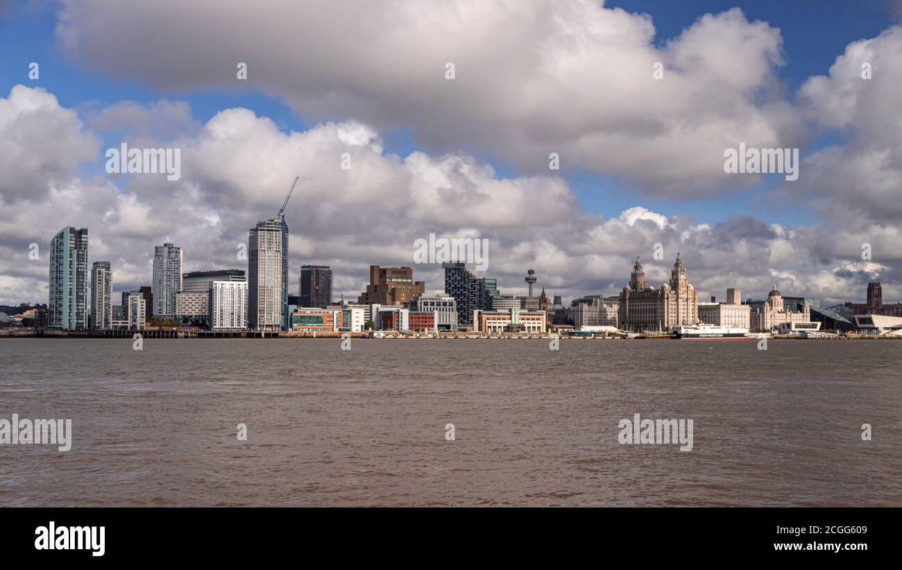 Liverpool waterfront skyline and River Mersey, Merseyside, England Stock Photo