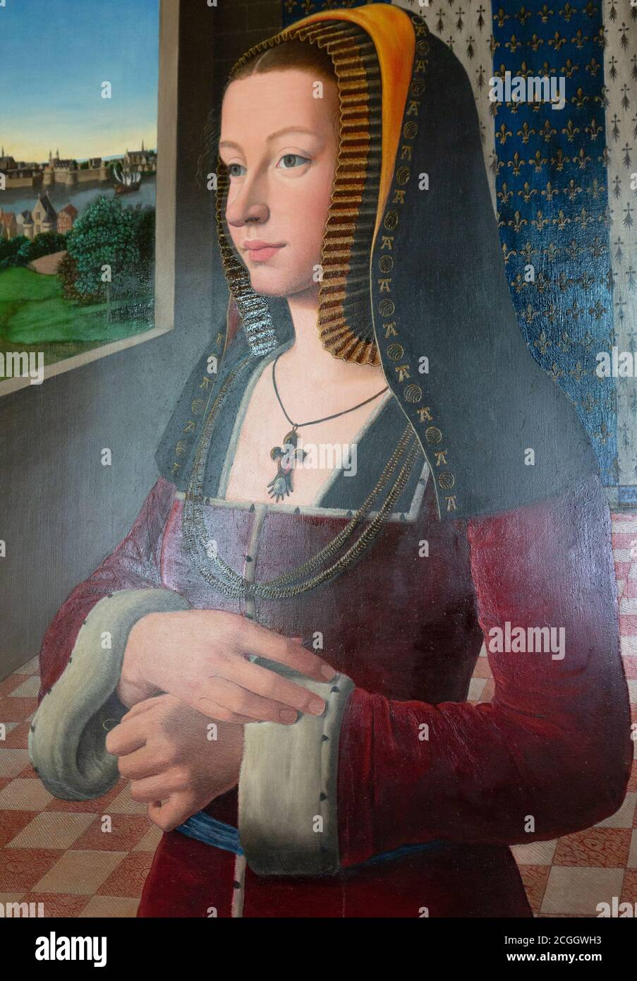 Anne of Brittany (Anne de Bretagne); Duchess of Brittany & Queen Consort of France in the15th century - Portrait painting in Chateau D'Amboise, France Stock Photo